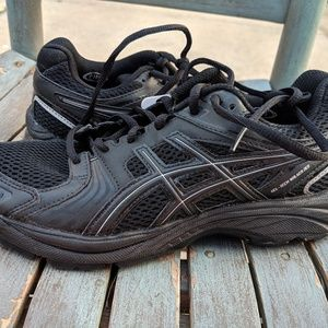 Gel ASICS Black Leather Walking Sneakers Size 6.5